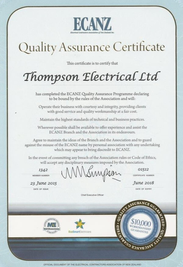 ECANZ Quality Assurance Certificate Of Thompson Electrical Ltd